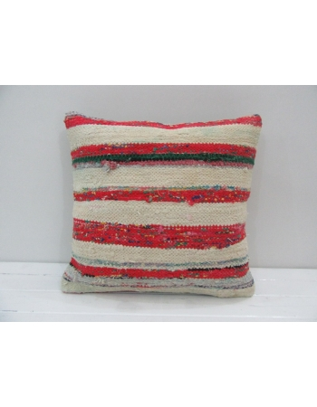 Vintage Handmade Red and White Striped Kilim Pillow Cover