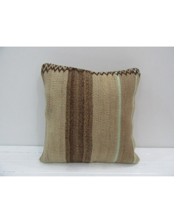 Vintage Handmade Brown Striped Natural Kilim Pillow Cover