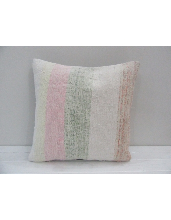 Vintage Handmade Pink and Gray Striped Natural Kilim Pillow Cover