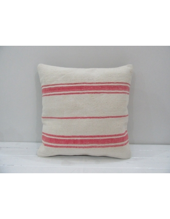 Vintage Handmade Pink Striped Natural Kilim Pillow Cover