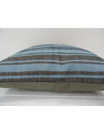 Vintage Handmade Blue and Black Striped Kilim Pillow Cover