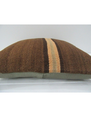 Vintage Handmade Striped Natural Brown Kilim Pillow Cover