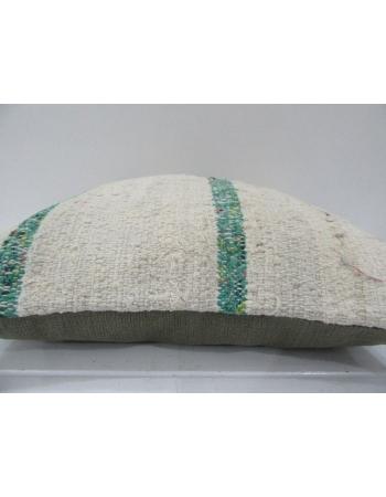 Vintage Handmade Green Striped Natural Kilim Pillow Cover