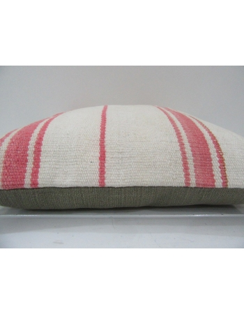 Vintage Handmade Pink Striped Natural Kilim Pillow Cover