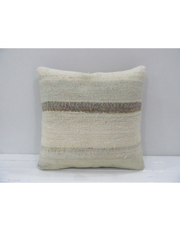 Vintage Handmade Beige Striped Natural Kilim Pillow Cover