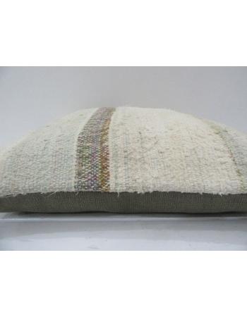 Vintage Handmade Beige Striped Natural Kilim Pillow Cover