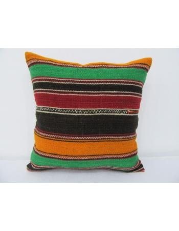 Colorful Striped Vintage Kilim Pillow