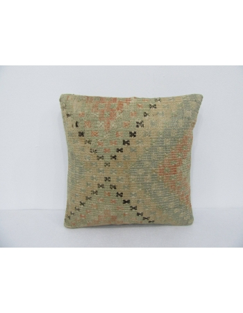 Faded Vintage Embroidered Kilim Pillow