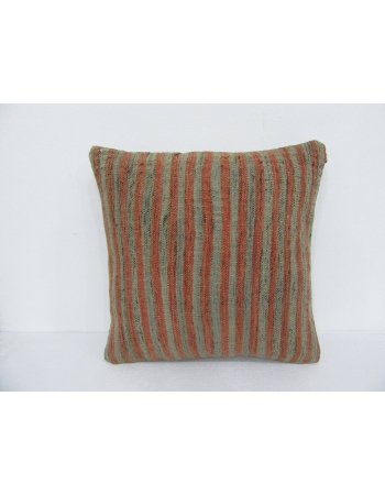 Green & Rust Vintage Striped Pillow