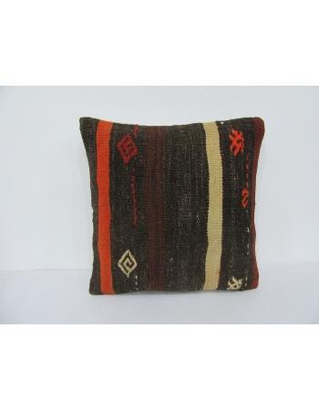 Brown & Orange Striped Kilim Pillow