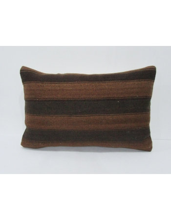 Vintage Brown Striped Turkish Kilim Pillow