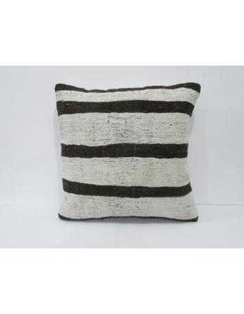 White & Brown Striped Kilim Pillow