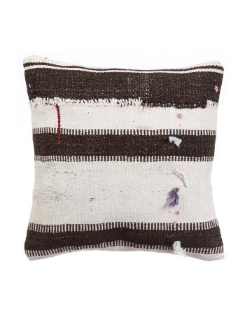 White & Dark Brown Kilim Pillow Cover