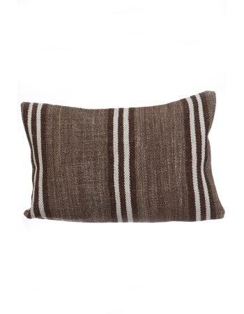 White & Brown Striped Pillow Cover