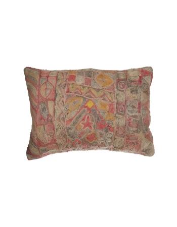 Embroidered Vintage Large Kilim Pillow
