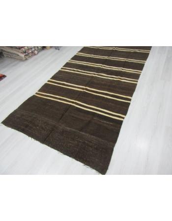 Vintage White striped Goat Hair kilim rug