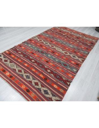 Embroidered Vintage Turkish Kilim Rug