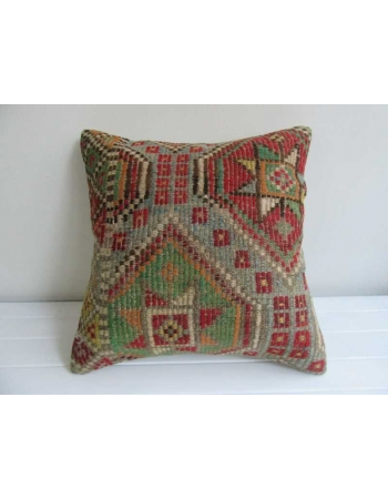 Embroidered vintage kilim cushion cover