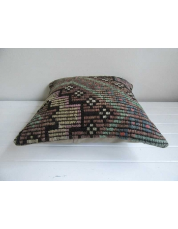 Embroidered decorative vintage kilim pillow