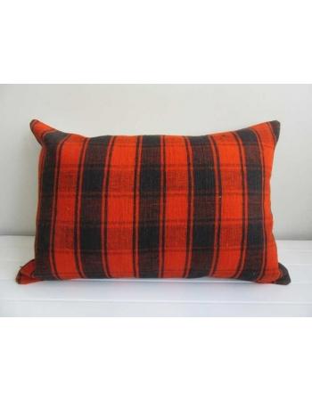 Orange and black decorative vintage Turkish kilim pillow cover