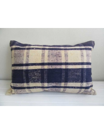 Navy blue white decorative Turkish kilim pillow cover