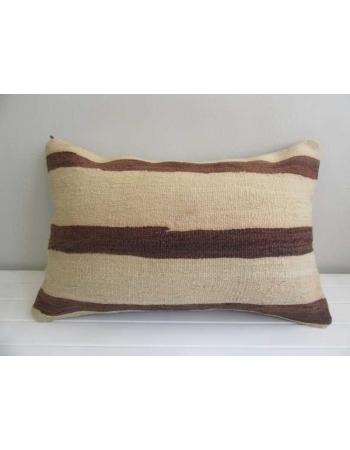 Striped brown and white vintage kilim pillow