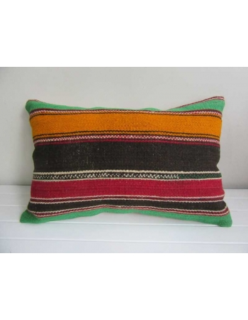 Black,orange,red,green striped vintage kilim pillow