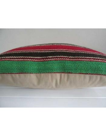 Black,orange,red,green striped vintage kilim pillow