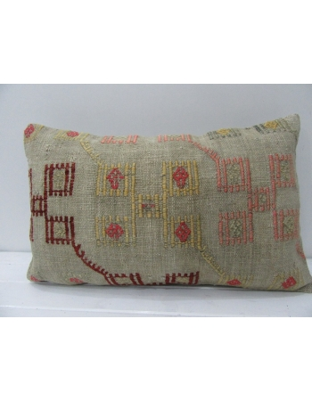 Decorative Vintage Embroidered Kilim Pillow