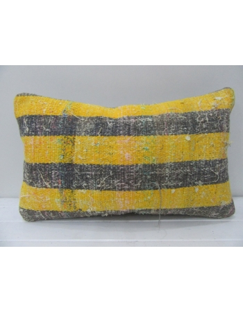 Yellow & Gray Striped Kilim Pillow