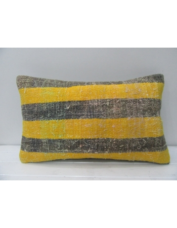 Striped Gray & Yellow Kilim Pillow