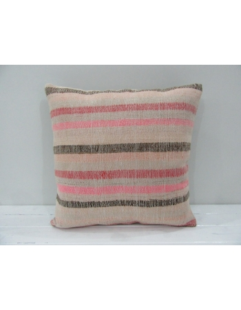 Tan / Pink Striped Kilim Pillow Cover