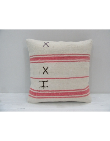 Coral / White Cotton Kilim Pillow