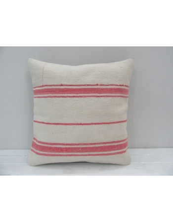 Striped Coral / White Kilim Cushion Cover