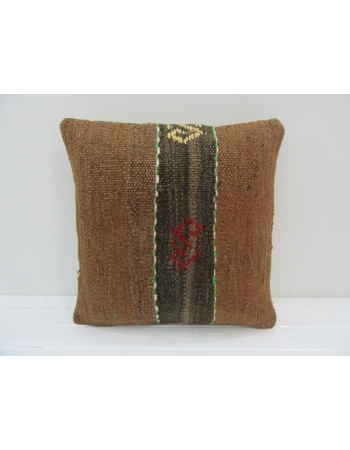 Brown Vintage Handmade Kilim Pillow