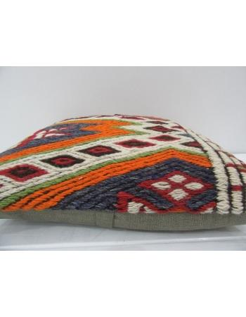 Embroidered Unique Vintage Kilim Pillow