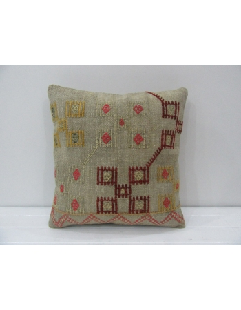 Embroidered Unique Turkish Kilim Pillow