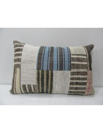 Vintage Gray / Blue Patchwork Pillow