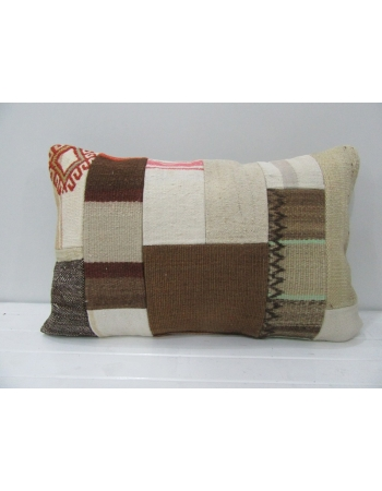 White / Brown Vintage Kilim Pillow