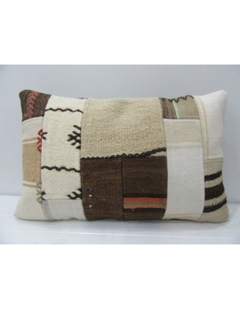 Vintage Brown / White Patchwork Pillow