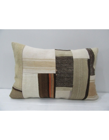 White / Brown Vintage Patchwork Kilim Pillow