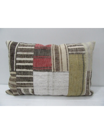 Red / Gray Kilim Patchwork Pillow