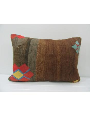 Unique Vintage Orange / Brown Kilim Pillow