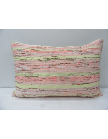 Coral & Green Striped Vintage Kilim Pillow