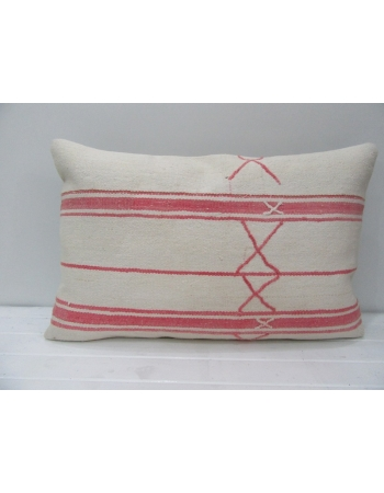 White & Coral Striped Kilim Pillow