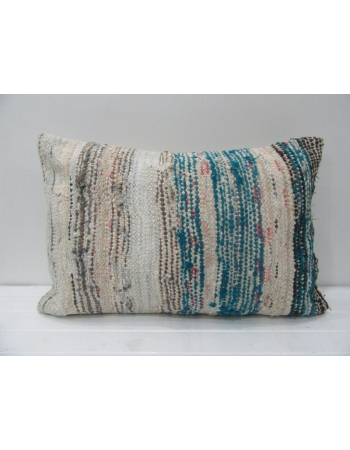 Beige & Blue Striped Kilim Pillow