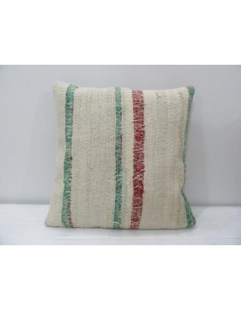 Striped Vintage Turkish Rag Kilim Pillow