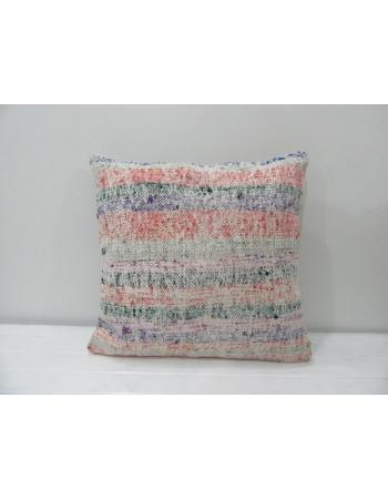 Coral / Green Striped Kilim Pillow