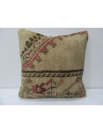 Coral & Brown & Tan Vintage Handmade Pillow