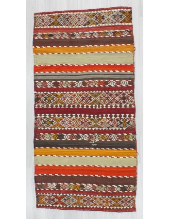 Antique striped embroidered Turkish kilim rug